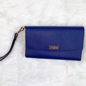 Kate Spade blue saffiano leather wallet/wristlet
